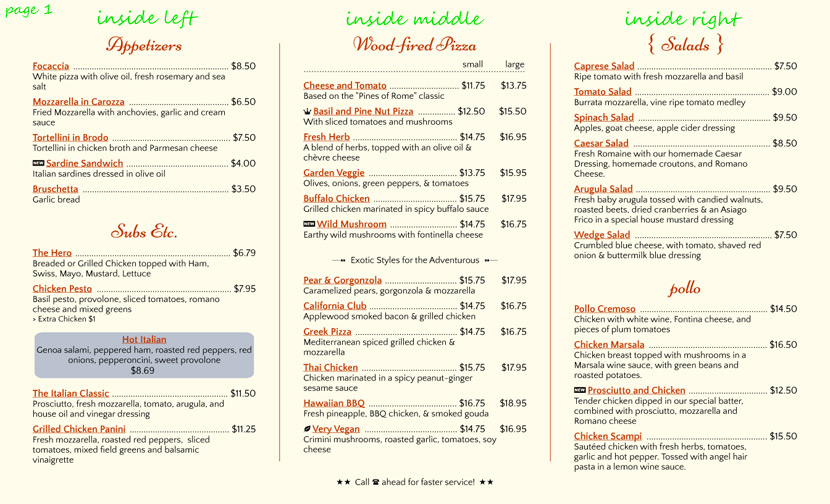 Menu types imenupro help for Carryout menu