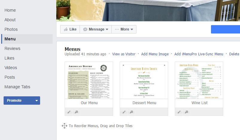 Your Menu on Facebook - iMenuPro Help Docs
